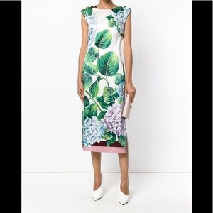 New Dolce&Gabbana HYDRANGEA button accent dress